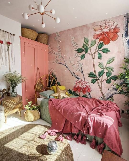 Bohemian Greenery for Pink Bedroom