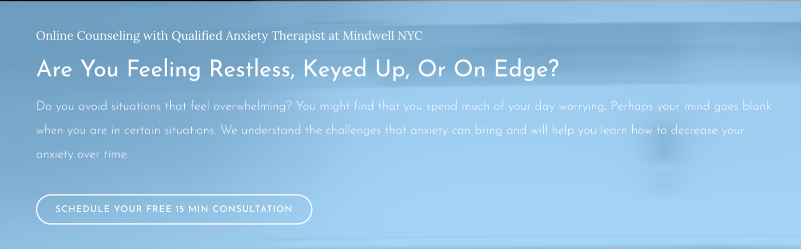 call to action example 2 of therapist website booking a consultation