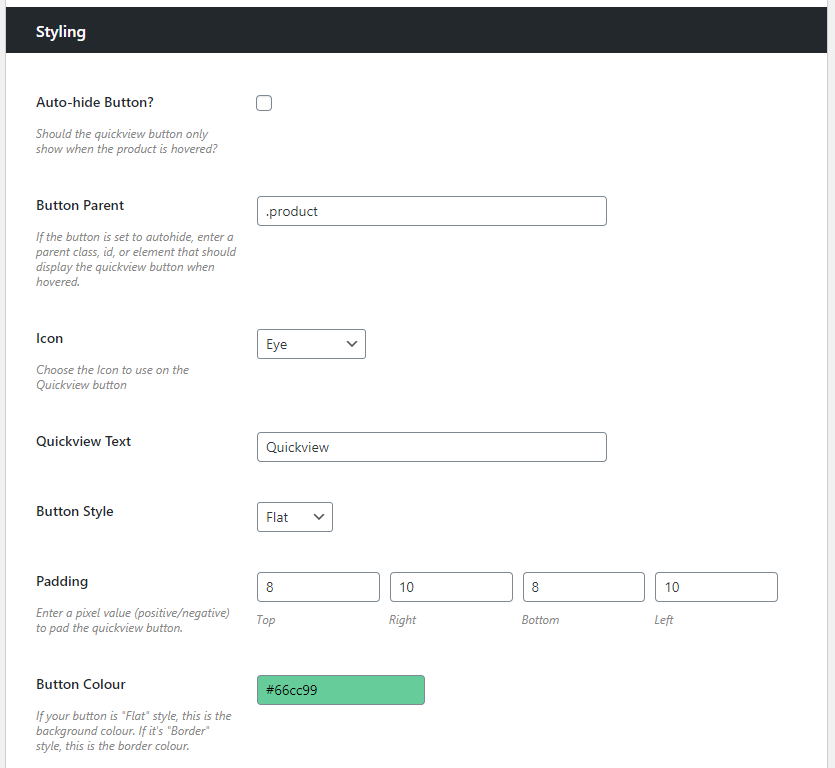 woocommerce quickview settings