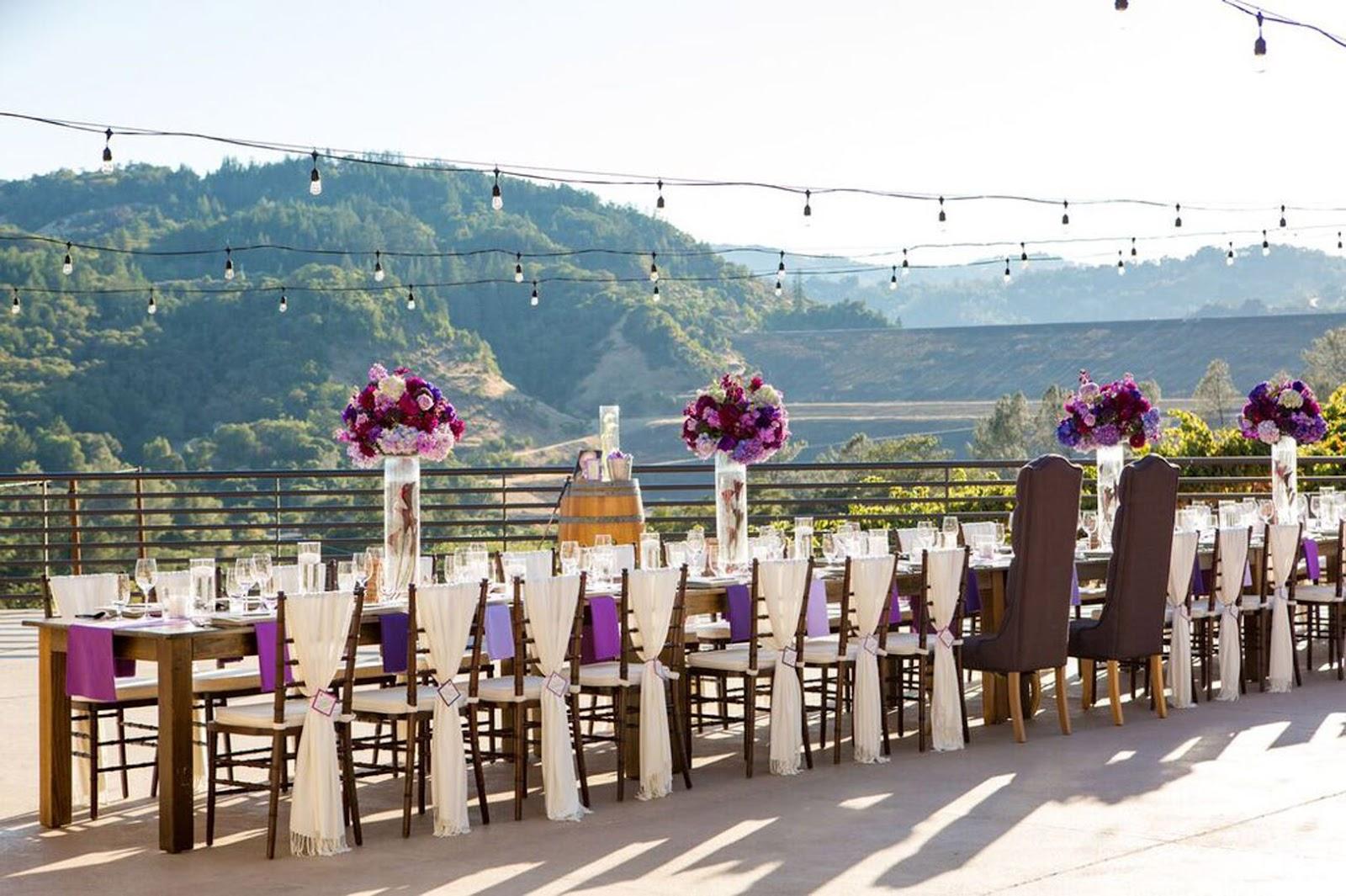dinner table for wedding overlooking vineyards