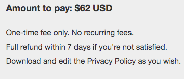 FreePrivacyPolicy.com's Policy Pricing