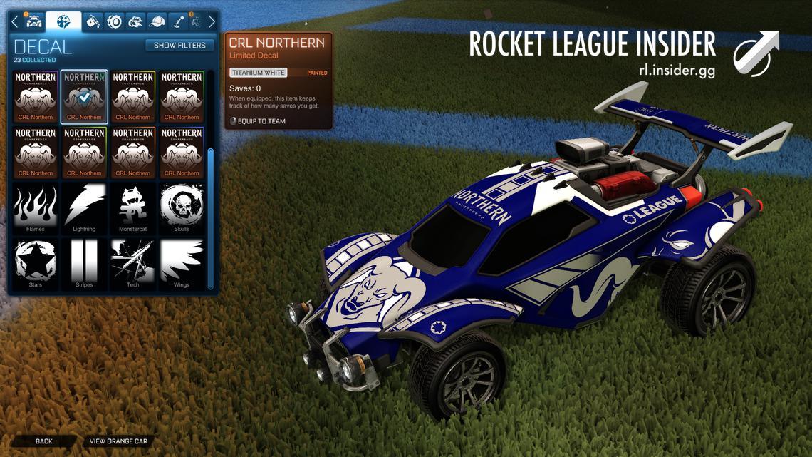 rocket league northern crl decal titanium white decal