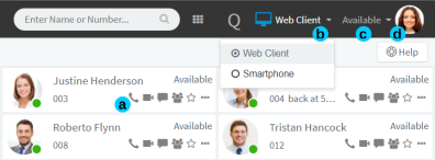 Standaard scherm van 3CX Web Client