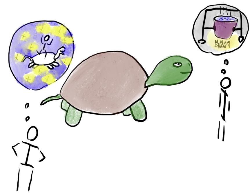 Sporej wielkości żółw lądowy na środku obrazka. Dwie osoby patrzą na owego żółwia - jedna widzi możliwość rozrywki, tańczenia na wielkiej skorupie. Druga widzi potencjalny obiad.