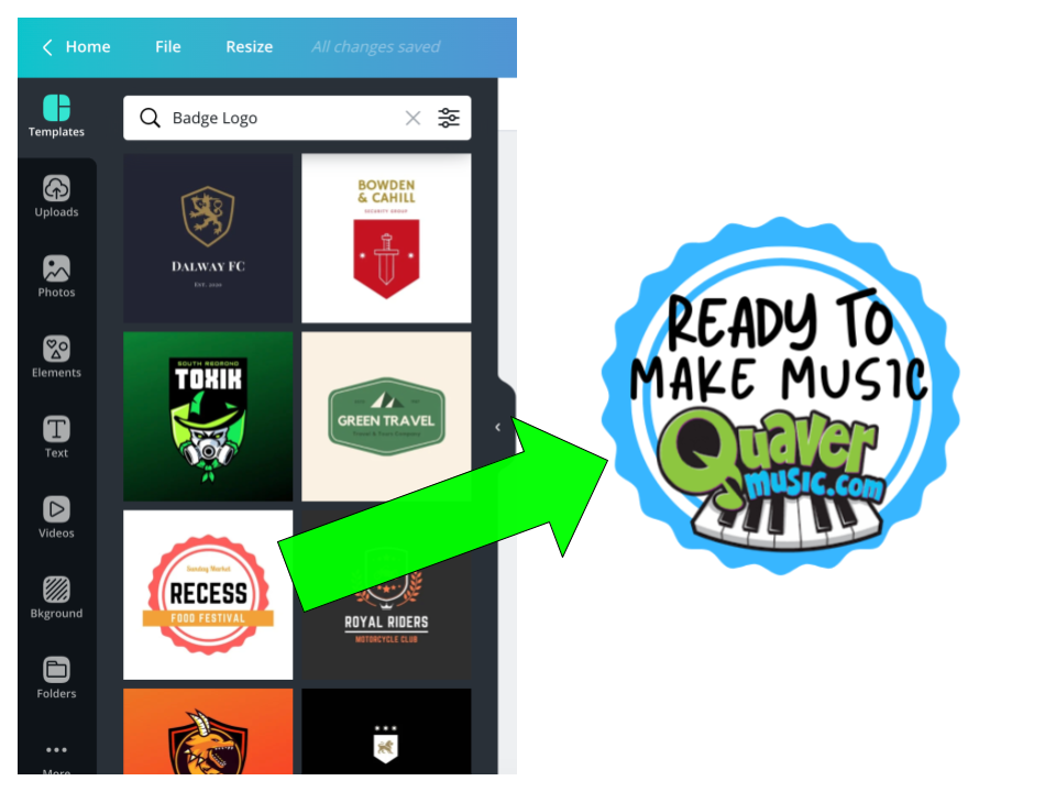 Quaver music badge in Canva