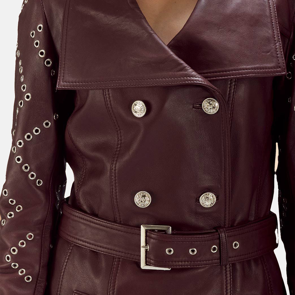 womens maroon trench coat