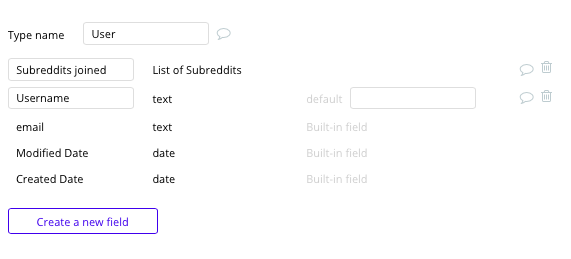 Bubble Reddit Clone User Data Type and Fields