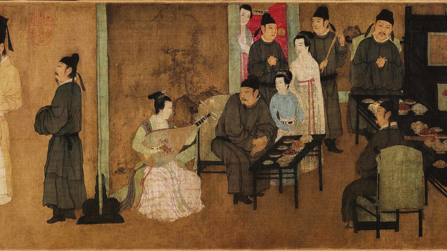 Гу Хунчжун, фрагмент картины «Ночная пирушка Хань Сицзая», 10 век нашей эры — стулья с высокой спинкой, столики