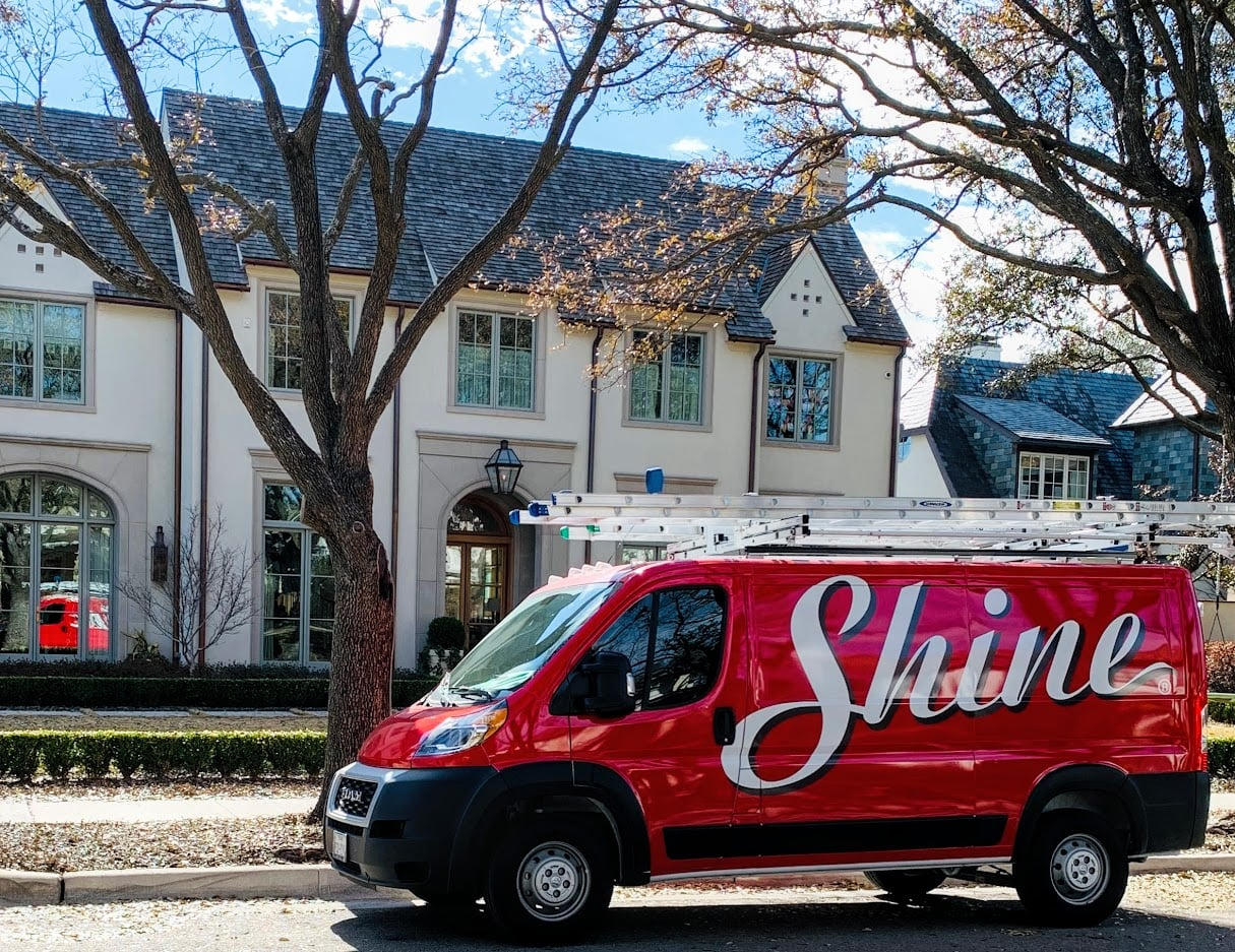 Shine truck in front of house
