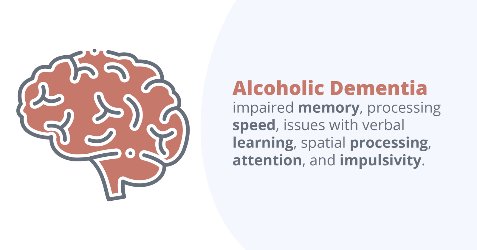 Alcoholic dementia impaired memory, processing speed, issues with verbal learning, spatial processing, attention, and impulsivity.