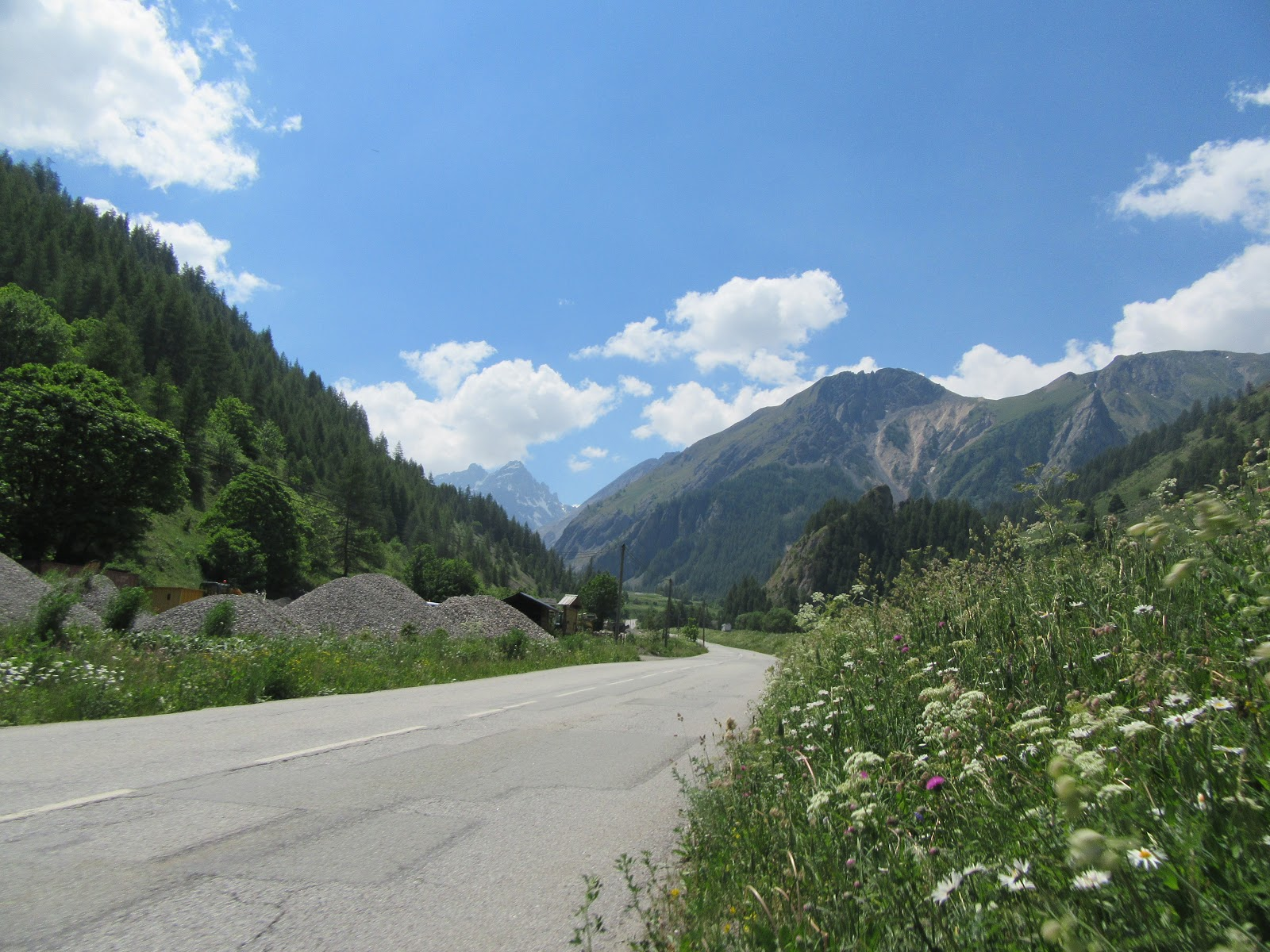 Bicycle climb of Col du Galibier - from Valloire - roadway and mountains