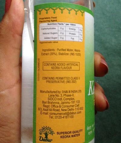 Nutritional information of kewra water