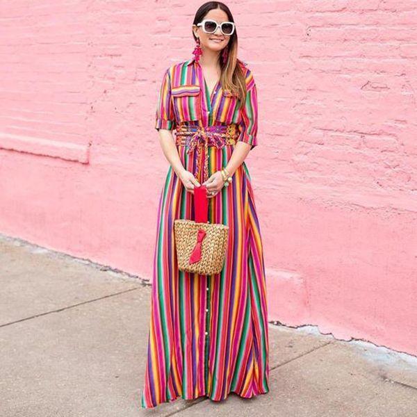 Boho Multi striped long maxi button down dress with sleeves | Maxi dress,  Striped maxi dresses, Long maxi dress