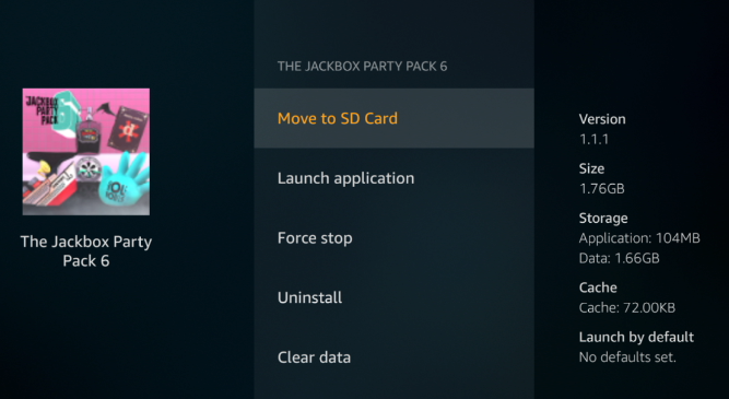 """Menu for game you wish to move; example is The Jackbox Party Pack 6. First option, """"Move to SD Card"""", selected in yellow"""