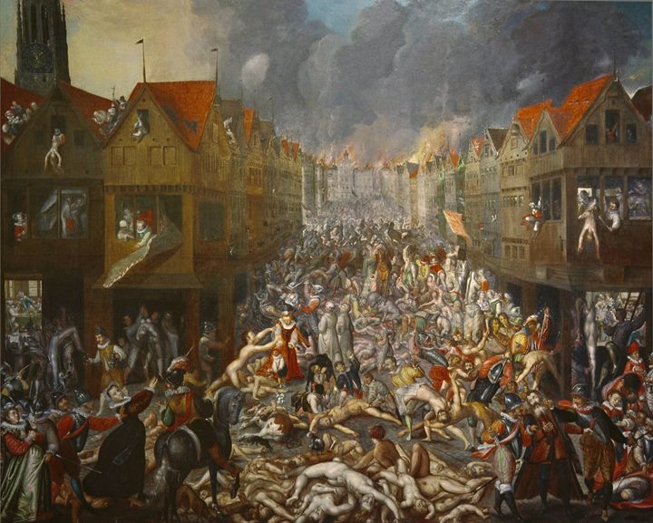 The destruction of Antwerp during the Spanish Fury, with bodies piled in the streets.