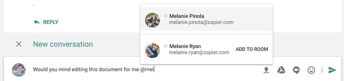 Mention people in Google Hangouts Chat