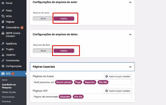 configuração de arquivo de autor no plugin Yoast