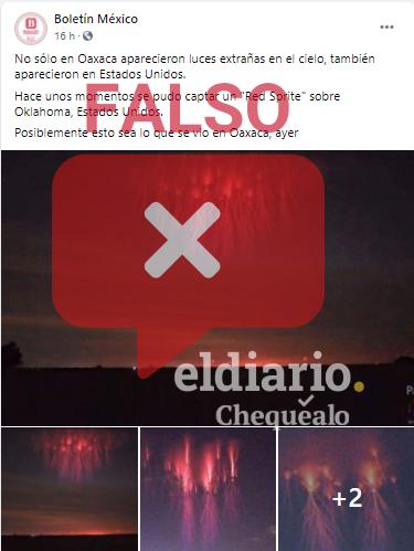 Falso. ¿Las imágenes que muestran luces rojas en el cielo fueron captadas recientemente en Estados Unidos?