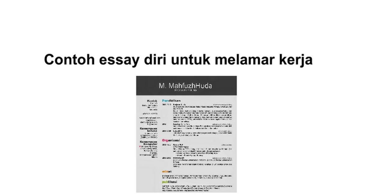 Contoh Essay Untuk Melamar Pekerjaan Download Gambar Online
