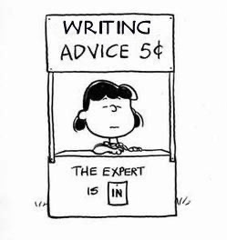 """a comic where it says writing advice for 5 cent because that's what """"just write"""" is worth."""
