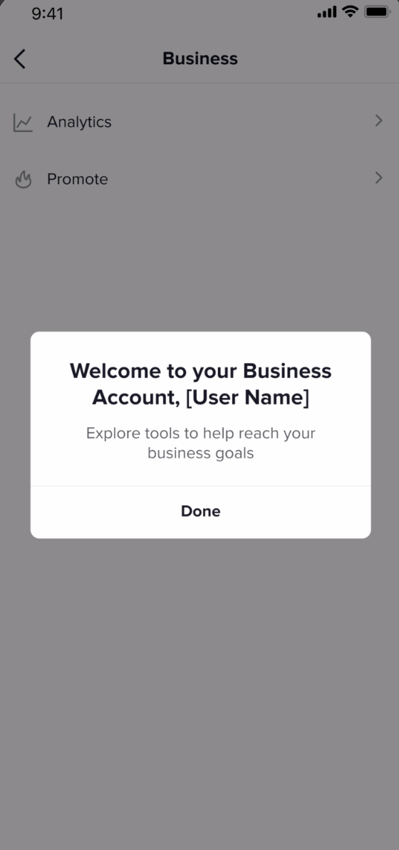 what you see when you're done setting up your TikTok business account