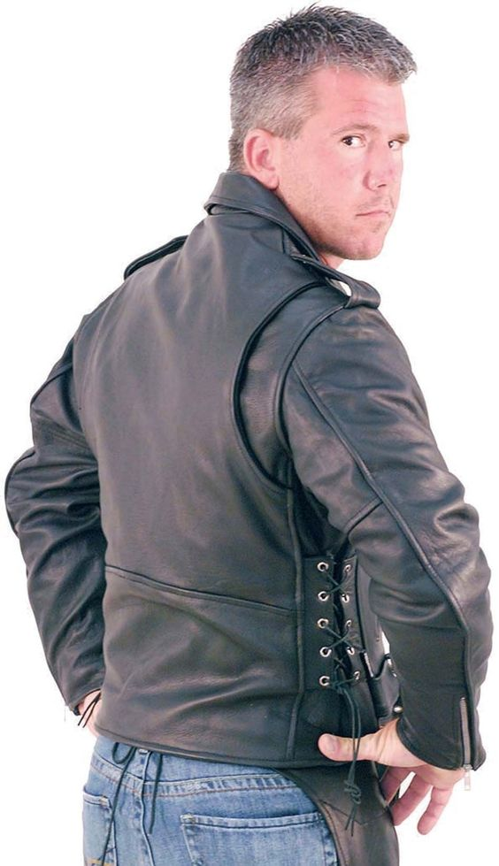 man in a big and tall leather jacket