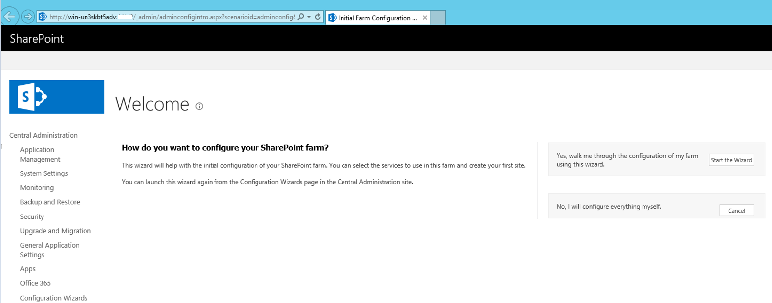 SharePoint 2016 Central Administration Site