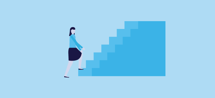 a single girl Climb the stairs for showing the steps for downloading the clash mod apk