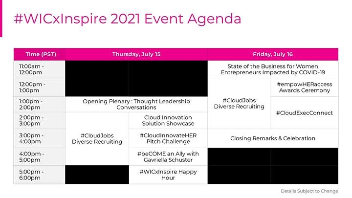 Women In Cloud Inspire 2021 Event Agenda