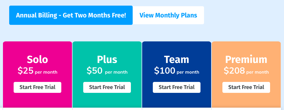 Boast Pricing: Solo is $25/month, Plus is $50/month, Team is $100/month, and Premium is $208/month.