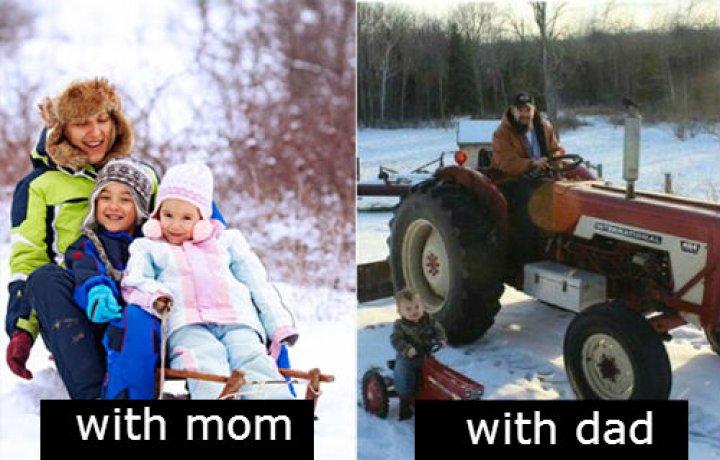 Diferencias entre papá y mamá al cuidar a los niños
