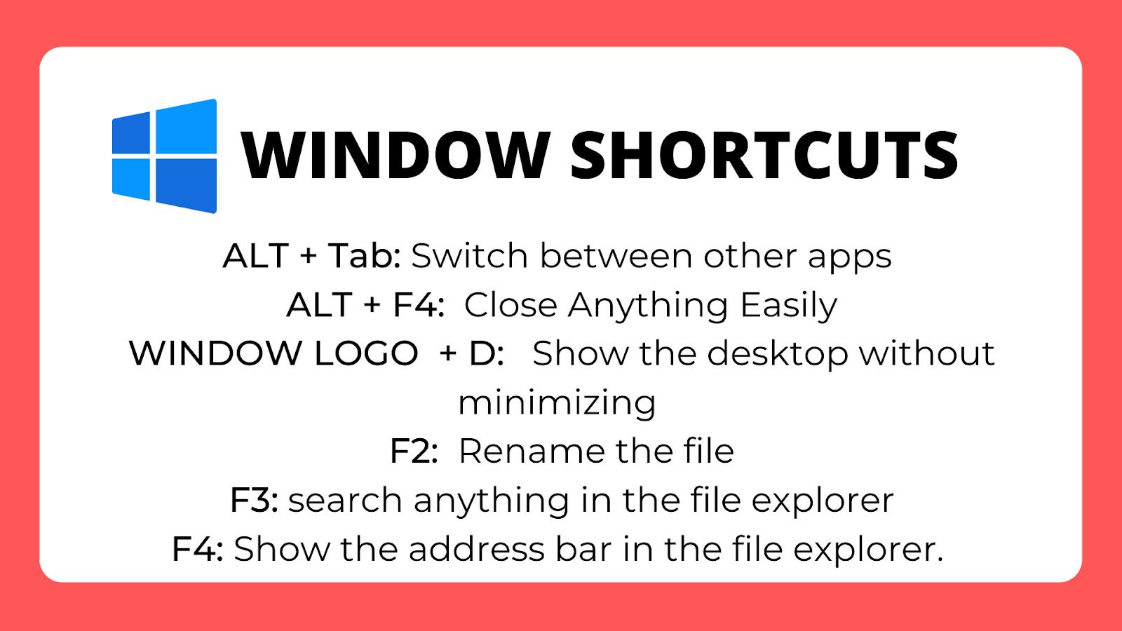 Window Shortcut Keys