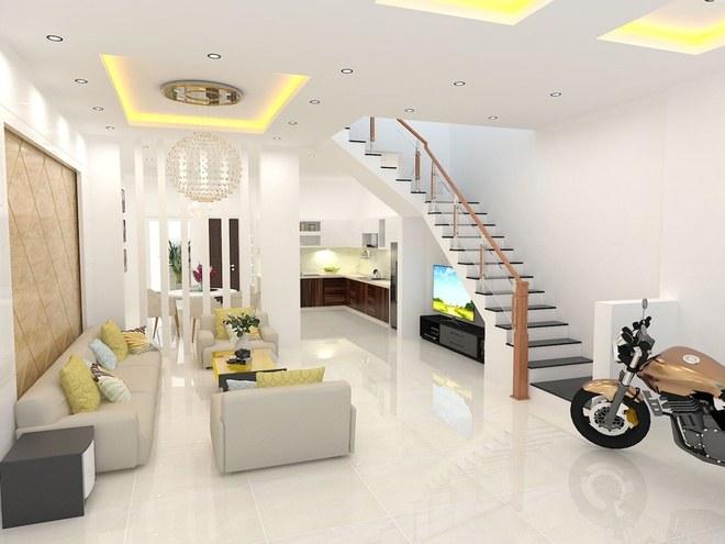 Nội thất phòng khách trong bản vẽ thiết kế nhà ống 3 tầng