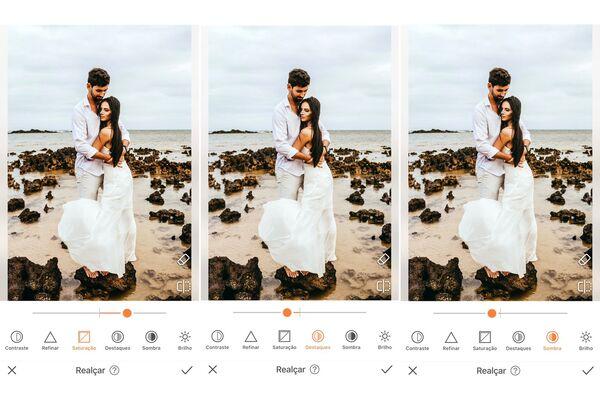 Foto de casamento sendo editada pelo AirBrush