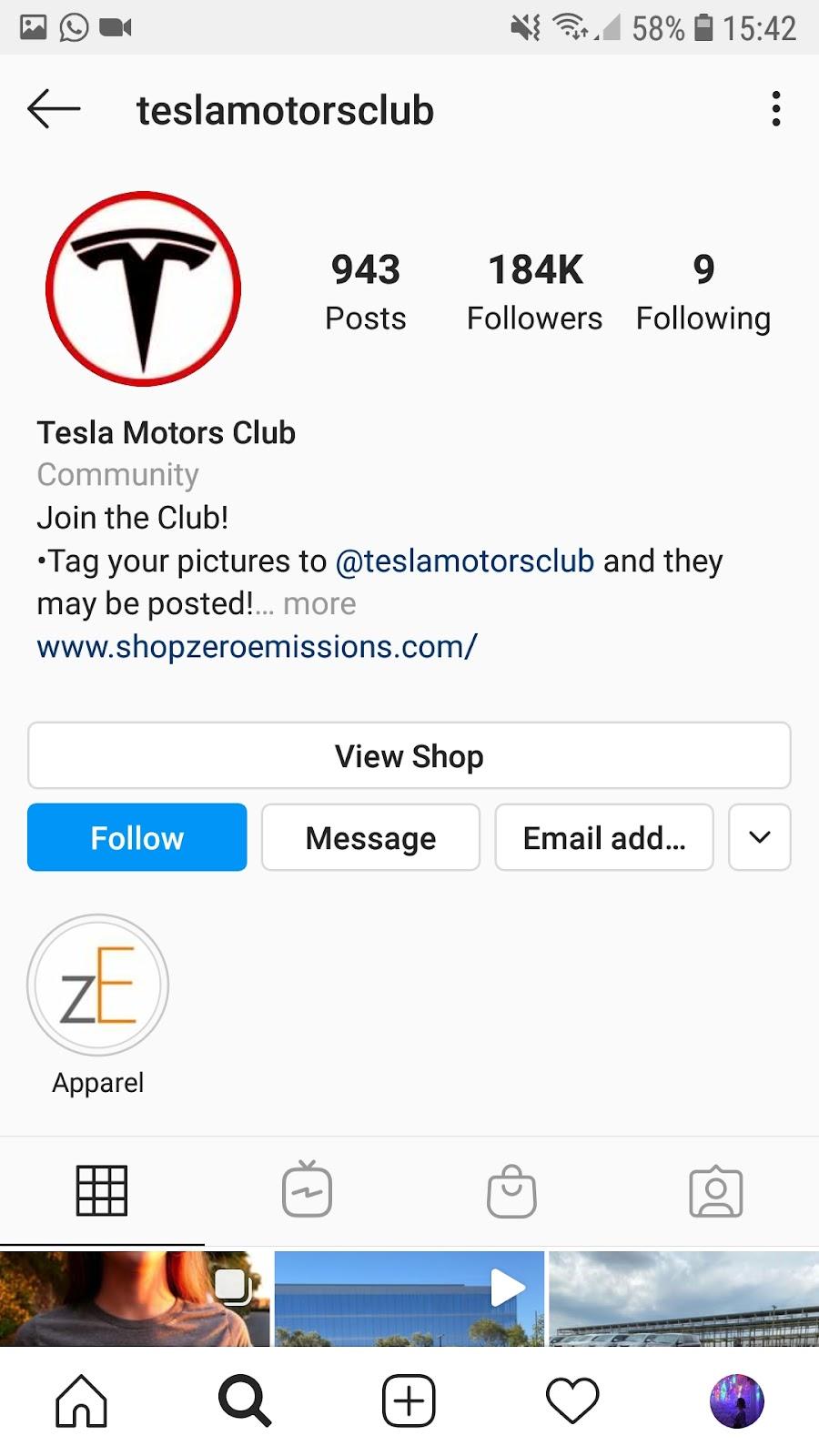 tesla motors club instagram