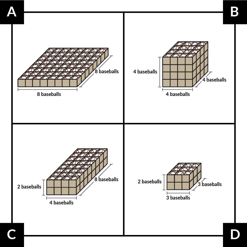 A. shows a box that stores 8 baseballs by 8 baseballs in 1 level. B. shows a box that stores 4 baseballs by 4 baseballs in each of 4 levels. C. shows a box that stores 4 baseballs by 8 baseballs in each of 2 levels. D. shows a box that stores 3 baseballs by 3 baseballs in each of 2 levels.