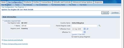 Oracle R12 E-Business / EBTax UK VAT Regime to Rate Setup - Oracle