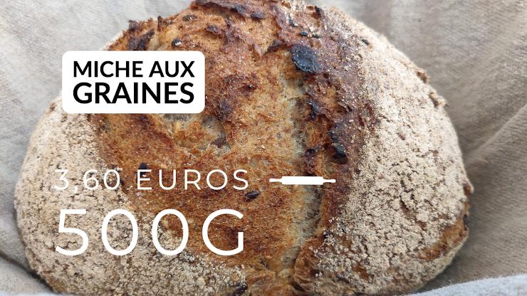 Ingrédients : farine de blé bio T80 et 20% de farine de seigle intégrale,  graines de courges, tournesol, lin et sésame, du  levain naturel de seigle, sel de Guérande, eau.