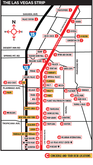 Mapa de la calle central de Las Vegas, The Vegas Strip