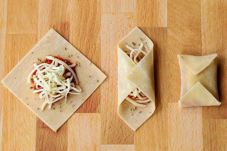 Homemade pizza rolls being folded in three steps