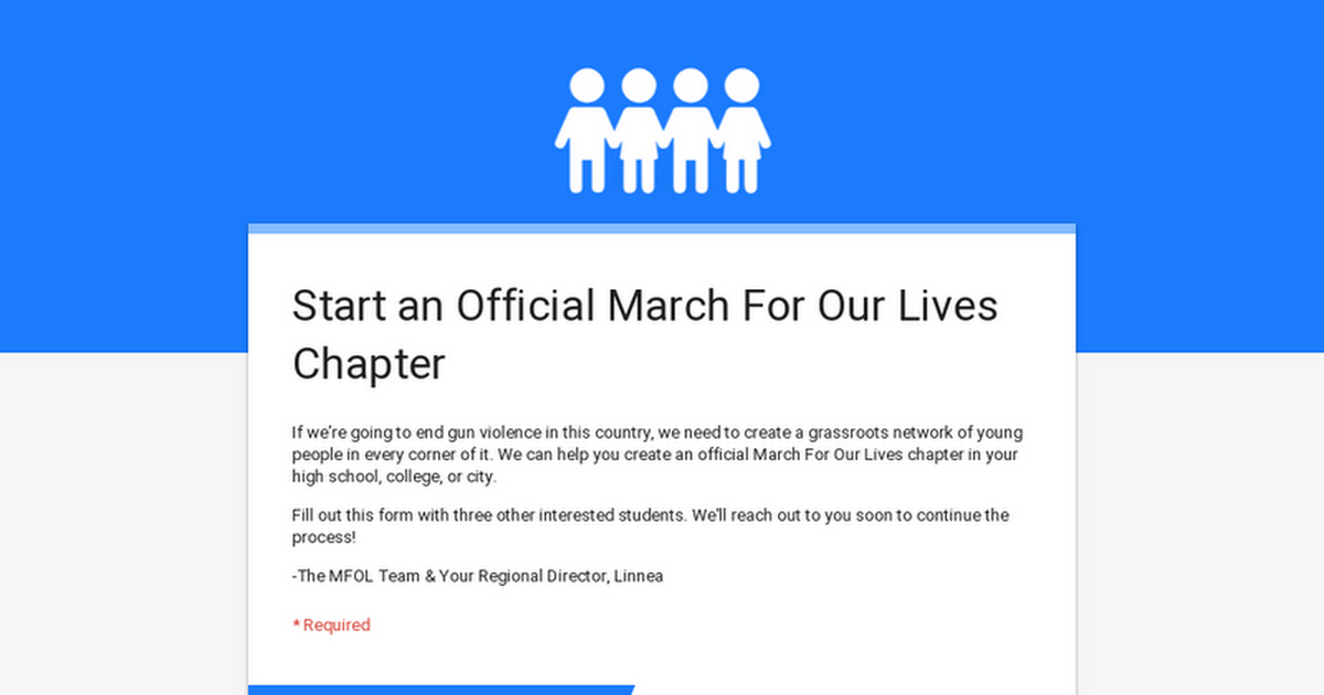Start an Official March For Our Lives Chapter