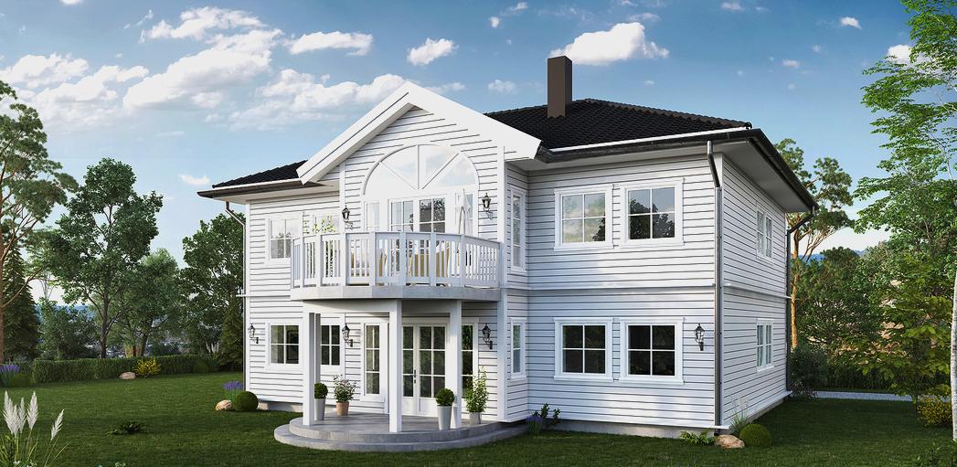 Herskapelig og tradisjonsrikt trehus med navn Sandviken, arkitekttegnet hus i Haugesund