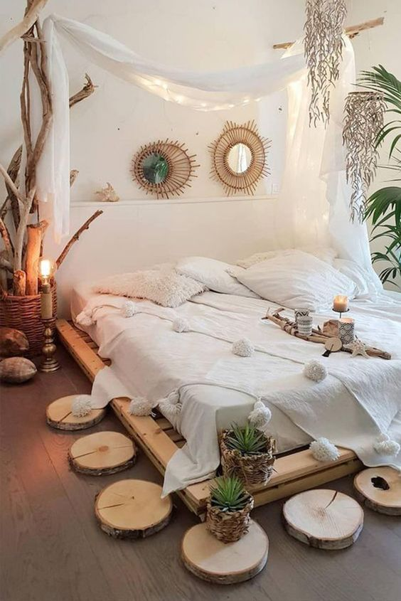 Place Decorative Wood Slices on Your Bedroom Floor