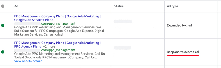 Responsive search ad in ad group
