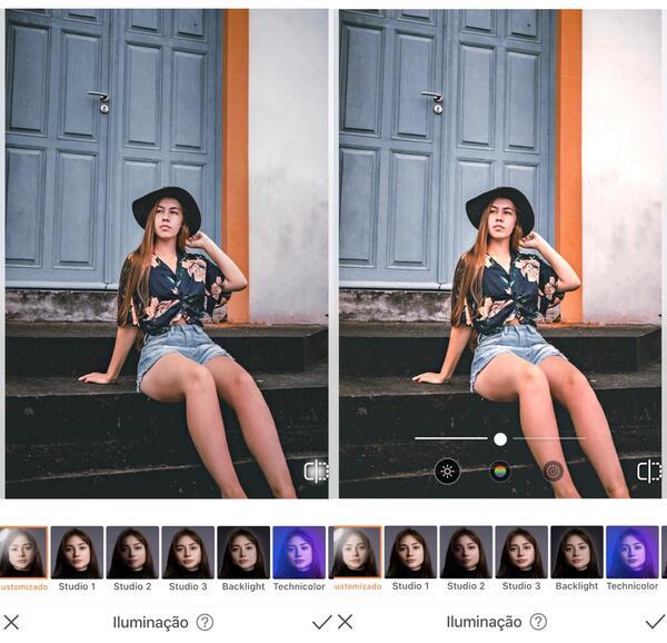 Foto de uma menina na rua sentada em uma escada sendo editada pelo airbrush