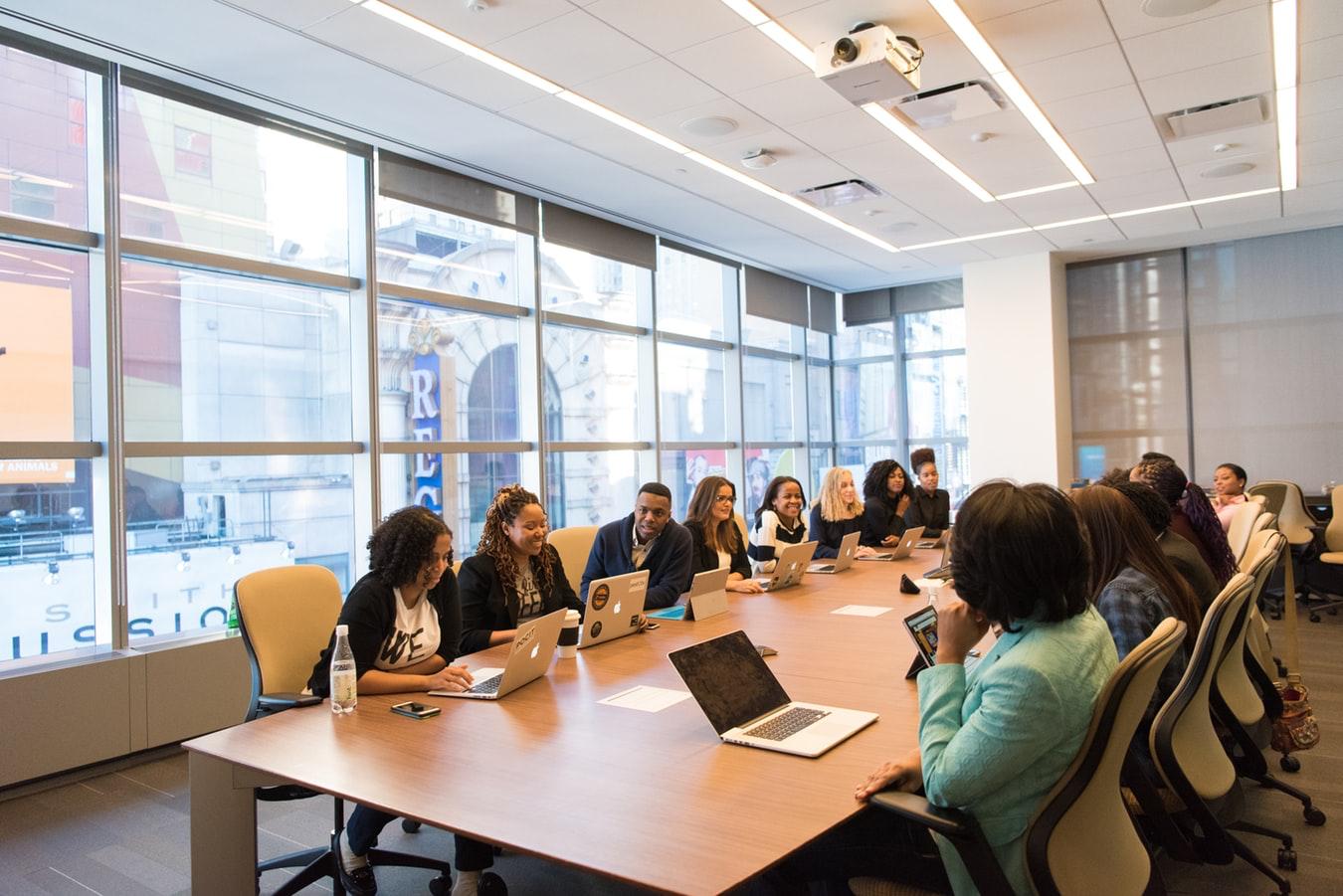 female workforce collaborating