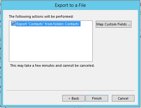 Final step of contacts export in Outlook