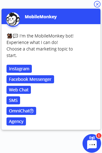 menu-based chatbot widget