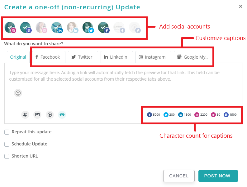 how to add multiple images and customize captions in a post - RecurPost