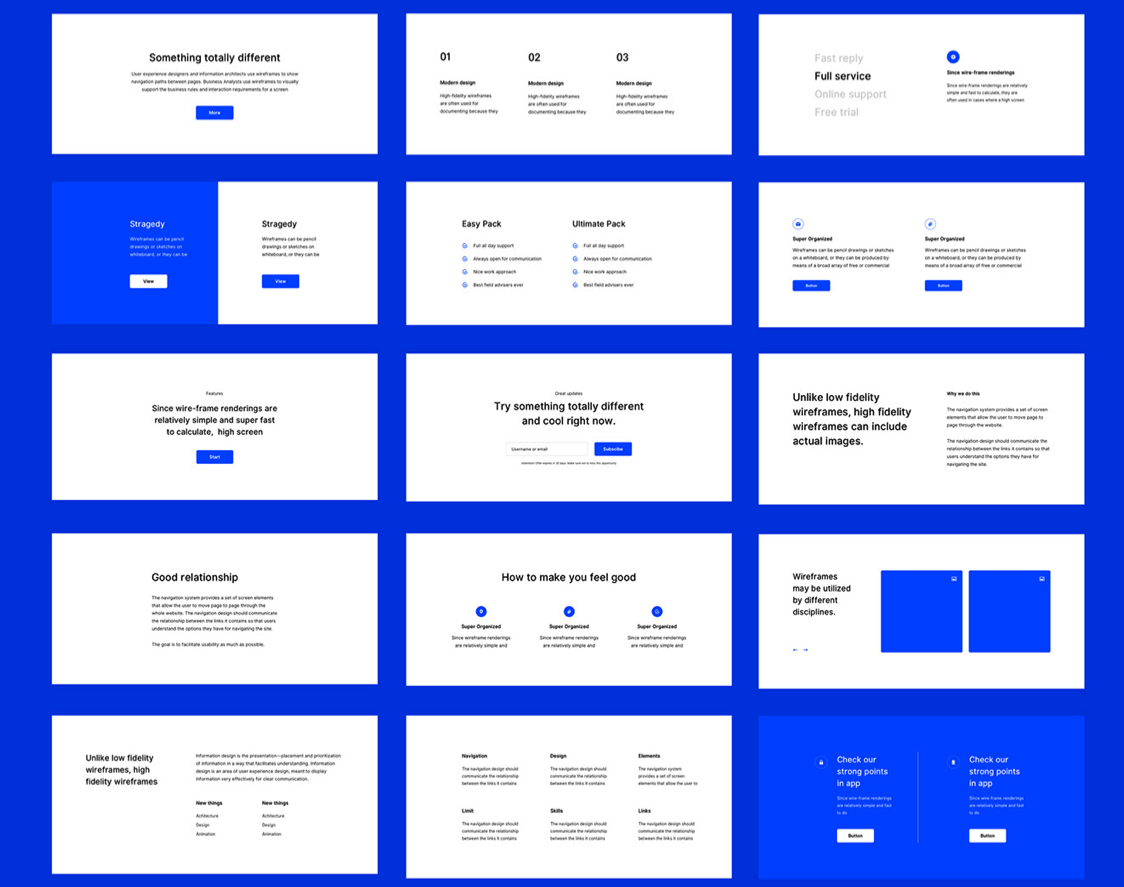 A screenshot of a wireframing kit that's available for Adobe XD.